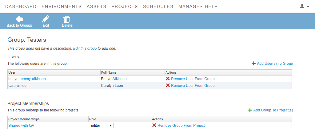 Groups List View