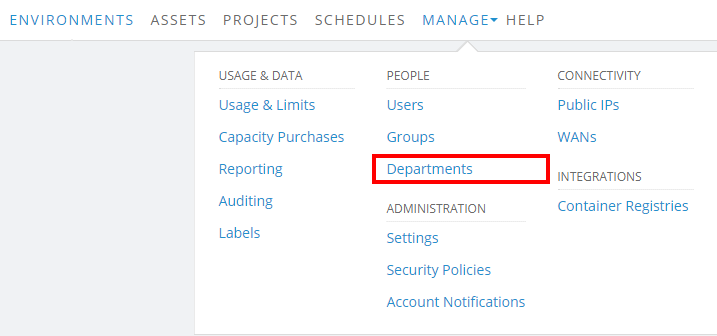Manage > Department