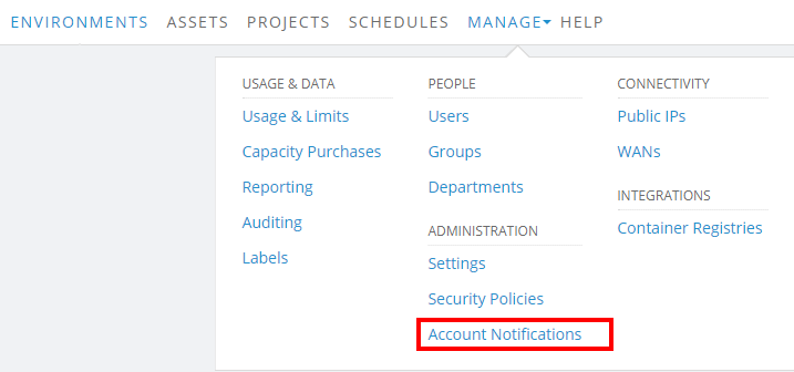 Manage > Notifications
