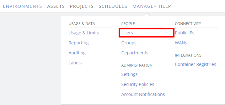 Manage > Users