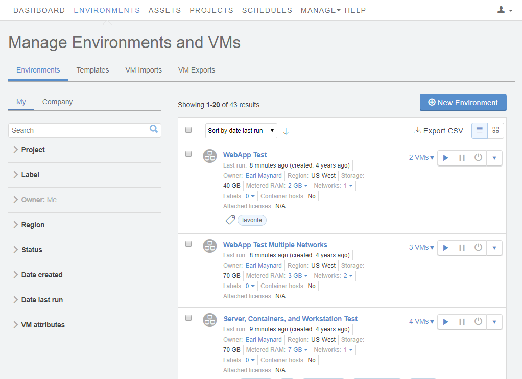 Manage Environments and VMs - New Environment