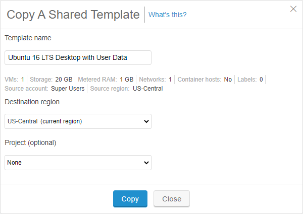 Copy a shared template dialog