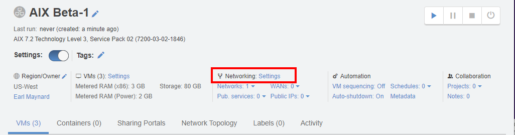 power networking settings